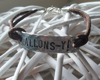 ALLONS-Y - hand-stamped aluminium bracelet