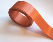 Orange Ribbon, Double-Sided Burnt Orange Satin Ribbon 1 1/2 inches wide x 5 yards, Offray Brand Burnt Sienna Ribbon