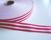 Red Ribbon, Double Sided Red and White Candy Cane Stripe Grosgrain Ribbon 1 inch wide x 5 yards SECOND QUALITY FLAWED