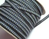 Vintage Gimp Trim, Vintage Blue and Gold Chevron Gimp Braided Sewing Trim 1/2 inch wide x 3 yards
