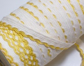 Vintage Ivory and Mustard Scalloped Edge Sewing Trim 3/8 inch wide x 3 yards
