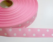 Pink Ribbon, Baby Pink and White Polka Dot Grosgrain Ribbon 1 inch wide x 10 yards, Swiss Dot Ribbon