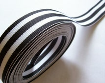 Black and White Stripe Grosgrain Ribbon 1 inch wide x 5 yards, Offray Mono Stripe Ribbon, SECOND QUALITY FLAWED