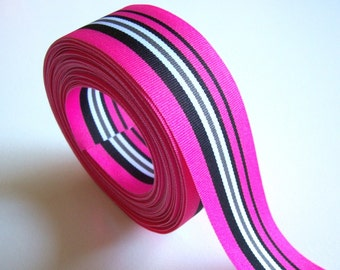 Striped Ribbon, Hot Pink and Black Stripe Grosgrain Ribbon 1 1/2 inches wide x 10 yards, SECOND QUALITY FLAWED