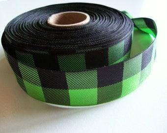 Green Ribbon, Apple Green and Black Check Plaid Ribbon 1 1/2 inches wide x 10 yards, Offray Lodge Plaid Ribbon, Buffalo Plaid Ribbon