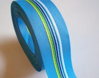 Blue Ribbon, Blue Stripe Grosgrain Ribbon 1 1/2 inches wide x 8 yards, Offray Westwood Ribbon, 50% Off Sale