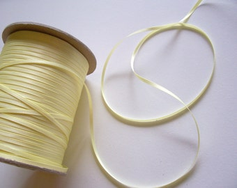 Yellow Ribbon, Double-Sided Yellow Satin Ribbon 1/8 inch wide x 10 yards, Offray Baby Maize