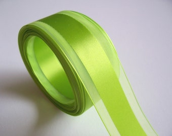 Green Ribbon, Bright Lime Green Satin Stripe Organza Ribbon 1 1/2 inches wide x 10 yards, SECOND QUALITY FLAWED