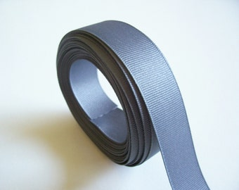 Gray Ribbon, Charcoal Gray Grosgrain Ribbon 7/8 inch wide x 10 yards, SECOND QUALITY FLAWED