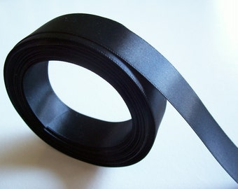 Black Ribbon, Black Double-Faced Satin Ribbon 7/8 inch wide x 4 yards, SECOND QUALITY FLAWED