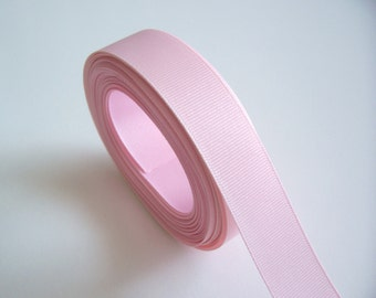 Pink Ribbon, Pale Baby Pink Grosgrain Ribbon 1 inch wide x 10 yards