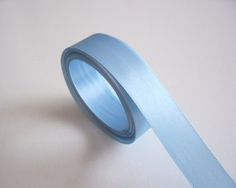 Blue Ribbon, Double-Sided Ice Blue Satin Ribbon 7/8 inch wide x 10 yards, SECOND QUALITY FLAWED