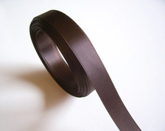 Brown Ribbon, Double-Faced Brown Satin Ribbon 5/8 inch wide x 10 yards, SECOND QUALITY FLAWED
