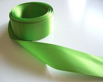 Green Ribbon, Double-Faced Bright Lime Satin Ribbon 1 1/2 inches wide x 10 yards, Offray Kiwi Green Ribbon