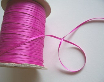 Pink Ribbon, Double-Sided Raspberry Satin Ribbon 1/8 inch wide x 10 yards