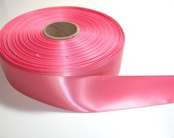 Coral Ribbon, Double-face pink salmon satin ribbon 1 1/2 inches wide x 8 yards, SECOND QUALITY FLAWED