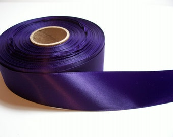 Purple Ribbon, Dark Purple Satin Ribbon 1 1/2 inches wide x 7 yards, Double Face