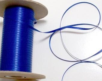 Blue Ribbon, Double-faced royal blue satin ribbon 1/8 inch x 10 yards