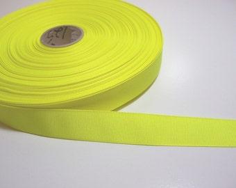 Neon Yellow Ribbon, Fluorescent Yellow Grosgrain Ribbon 1 inch wide x 7 yards