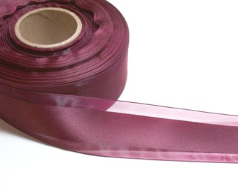 Burgundy Ribbon, Wine Satin Stripe Organza Ribbon 1 3/8 inches wide x 10 yards, Offray Garbo Ribbon