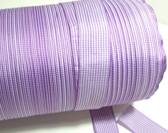Purple Gingham Check Polyester Ribbon 1 1/2 inches wide x 5 yards, SECOND QUALITY FLAWED, Purple Ribbon