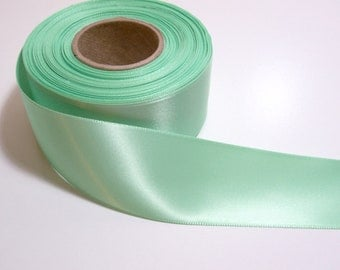 Green Ribbon, Mint Green Satin Ribbon 1 1/2 inches wide x 10 yards, Double-Face Ribbon, Offray Mint Green Satin, SECOND QUALITY FLAWED