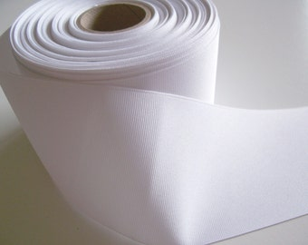 Wide White Ribbon, White Grosgrain Ribbon 3 inches wide x 3 yards, SECOND QUALITY FLAWED