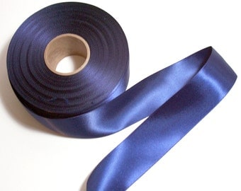 Blue Ribbon, Navy Blue Double-Faced Satin Ribbon 1 1/2 inches wide x 10 yards, Offray Ribbon