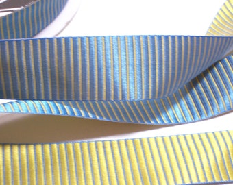 Blue Ribbon, Offray Blue and Gold Ladder Stripe Satin Ribbon 1 inch wide x 10 yards