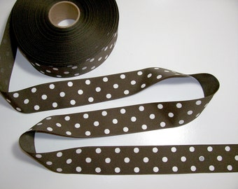 Brown Ribbon, Brown and White Polka Dot Grosgrain Ribbon 1 1/2 inches wide x 10 yards, Offray Ribbon