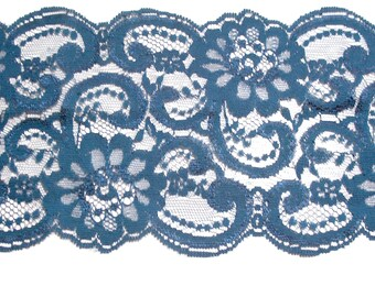 Teal Lace, Deep Teal Floral Lace Sewing Trim 5 inches wide x 1 yard