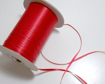 Red Ribbon, Double-Sided Red Satin Ribbon 1/8 inch wide x 10 yards