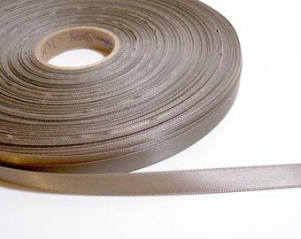 Greenish Gray Ribbon, Field Gray Satin Ribbon 3/8 inch wide Double-Sided x 6 yards, 50% Off Sale