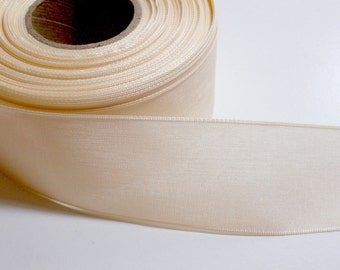 Ivory Ribbon, Cream Woven Polyester Ribbon 1 1/2 inches wide x 10 yards, Offray San Marino