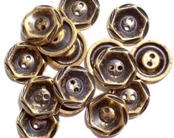 Gold Buttons, Goldtone Plastic Buttons 3/4 inch diameter x 50 pieces