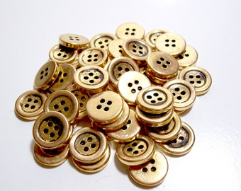 Gold Button, Goldtone Metal Coated Plastic Core Buttons 3/4 inch(19 mm) diameter x 25 pieces
