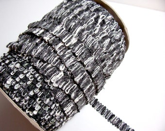 Black Trim, Vintage Black and Gray Sewing Trim 3/4 inch x 3 yards