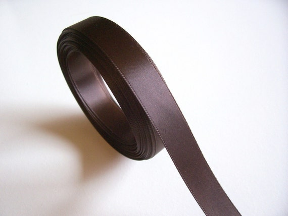 Double-Sided Brown Satin Ribbon 5/8 inches wide