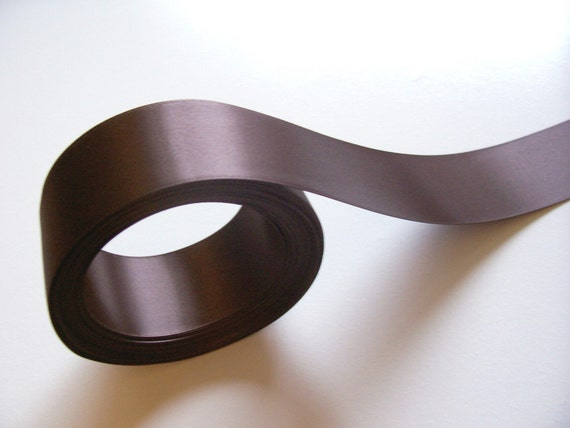 10 Yards of Brown Double-Faced Satin Ribbon 1 1/2 inches wide SECONDS