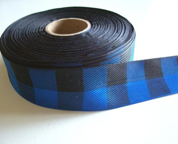 Blue Ribbon, Offray Blue Lodge Plaid Ribbon 1 1/2 inches wide x 10 Yards, Buffalo Plaid Ribbon