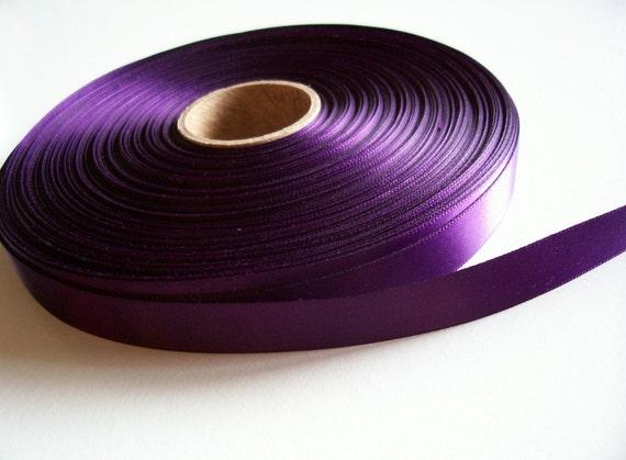 RESERVED FOR KELLYTURNER19 Single-Sided Dark Plum Satin Ribbon 5/8 inch wide