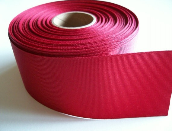 Wide Red Ribbon, Light Burgundy Red Grosgrain Ribbon 2 1/4 inches wide x 6 yards