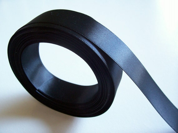 Single-Sided Black Satin Ribbon 7/8 inch wide x 4 yards, Black Ribbon