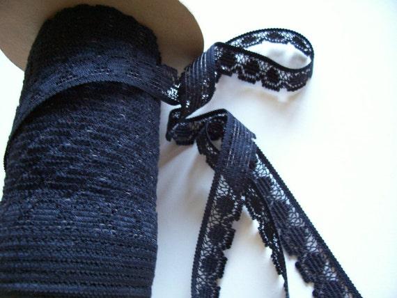 Vintage Black Lace Sewing Trim 7/8 inch wide x 9 yards precut, Black Lace Trim CLEARANCE