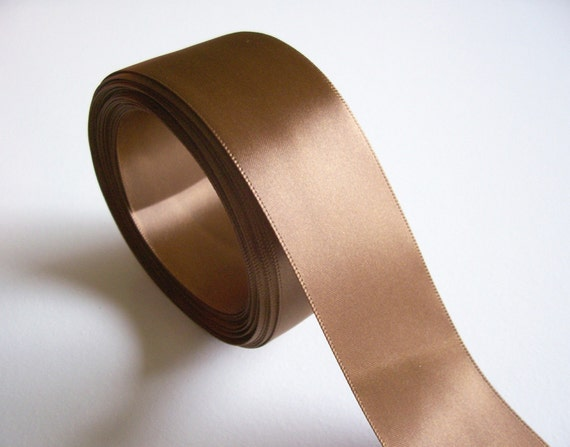Double-Sided Caramel Brown Satin Ribbon 1 1/2 inches wide x 27 yards precut SECOND QUALITY FLAWED