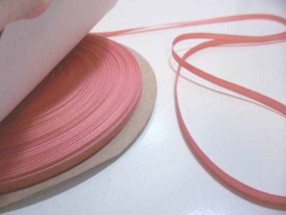 Light Orange Ribbon, Salmon Grosgrain Ribbon 1/4 inch wide x 10 yards, Offray Blush Ribbon