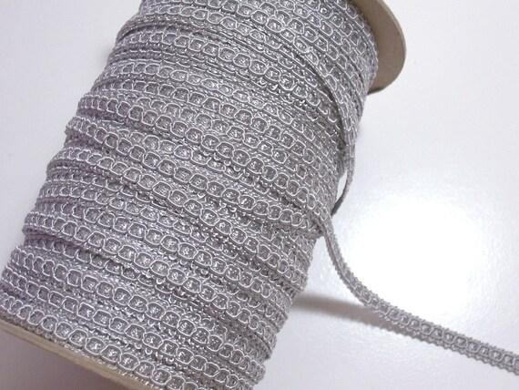 Vintage Silver Gimp Braided Sewing Trim 5/16 inch wide x 6 yards precut