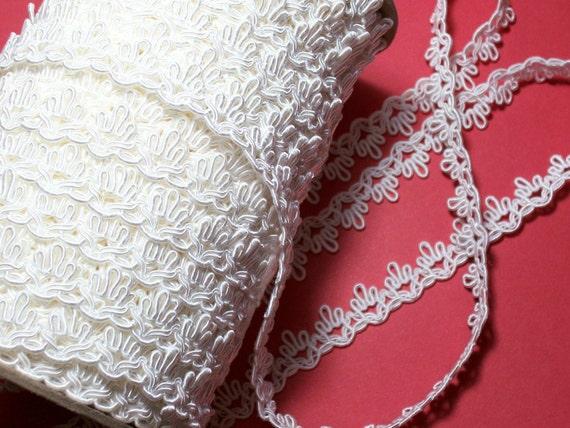 White Wedding Lace Gimp Braided Sewing Trim 5/8 inch wide x 1 yard precut