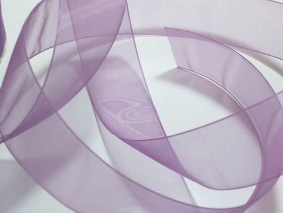 Sheer Purple Ribbon, Aubergine Purple Organza Ribbon 1 3/8 inches wide x 10 yards