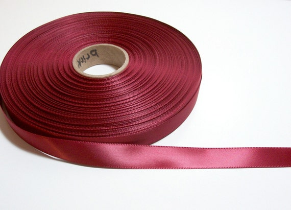 Burgundy Red Ribbon, Single-Faced Brick Red Satin Ribbon 5/8 inch wide x 45 yards, 50% Off Sale
